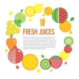 Значок плодоовощ свежего сока красочный круглый установил для рынка или кафа Стоковая Фотография RF