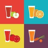 Значок плодоовощ сока стеклянный плоский Свежий сок для Стоковое фото RF
