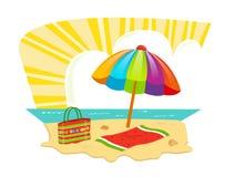 Значок пляжа Стоковые Изображения RF