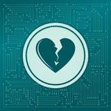 Значок разбитого сердца на зеленой предпосылке, с стрелками в различных направлениях Оно появляется электронная доска бесплатная иллюстрация