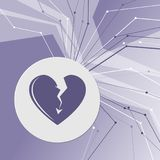 Значок разбитого сердца на фиолетовой абстрактной современной предпосылке Линии во всех направлениях С комнатой для вашей рекламы иллюстрация штока