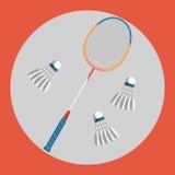 Значок ракетки бадминтона Красочная ракетка бадминтона и 3 shuttlecocks бадминтона на красной предпосылке спорты иллюстрация штока