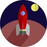 Значок Ракеты плоский Стоковое Фото