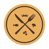 Значок ресторана. Пересеченные вилка и нож иллюстрация вектора