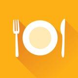 Значок ресторана плоский Стоковое Изображение RF