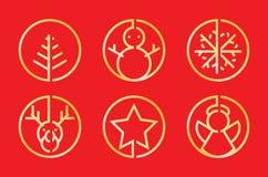 Значок рождества золотой иллюстрация штока