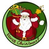 Значок рождества с Санта Клаусом Стоковое Изображение RF