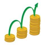 Значок роста финансов, стиль шаржа Стоковые Изображения