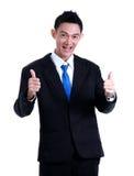 Значок руки бизнесмена как и улыбка на белой предпосылке Стоковое Изображение RF