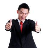 Значок руки бизнесмена как и улыбка на белой предпосылке Стоковое Изображение