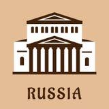 Значок русского грандиозного театра плоский Стоковое Изображение