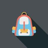 Значок рюкзака плоский с длинной тенью Стоковое фото RF