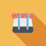 Значок рюкзака плоский с длинной тенью Стоковое Изображение RF