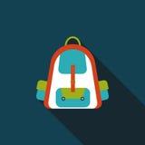 Значок рюкзака плоский с длинной тенью Стоковое Изображение