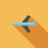 Значок самолета плоский с длинной тенью Стоковая Фотография