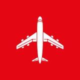 Значок самолета, самолета на красной иллюстрации вектора предпосылки Стоковые Фото