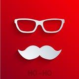 Значок Санта Клауса концепции вектора современный на красном цвете Стоковая Фотография
