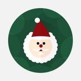 Значок Санта Клауса плоский с длинной тенью Стоковые Изображения RF