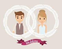 Значок свадьбы кроны шаржа пар по мере того как вектор свирли предпосылки декоративный графический стилизованный развевает бесплатная иллюстрация