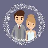 Значок свадьбы шаржа пар флористический по мере того как вектор свирли предпосылки декоративный графический стилизованный развева иллюстрация вектора