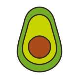 Значок свежего овоща авокадоа половинный изолированный Стоковые Фотографии RF