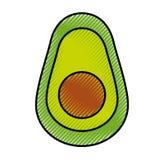 Значок свежего овоща авокадоа половинный изолированный Стоковая Фотография