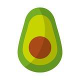Значок свежего овоща авокадоа половинный изолированный Стоковые Изображения