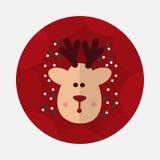 Значок северного оленя рождества плоский с длинной тенью Стоковое Изображение RF