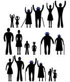 Значок семьи силуэта людей. Женщина вектора персоны, человек. Ребенок, дед, иллюстрация поколения бабушки. Стоковое фото RF