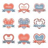 Значок сердца дня валентинки, ярлык, лента, и комплект поздравительной открытки Стоковая Фотография
