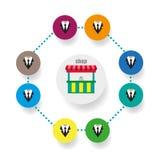 Значок сети бизнесменов Иллюстрации Ходить по магазинам Компании плоско Стоковое Изображение RF