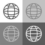 Значок сети вектора установленный на бело-сер-черном цвете Стоковые Изображения