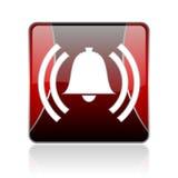 значок сети красной площади сигнала тревоги лоснистый Стоковое Фото