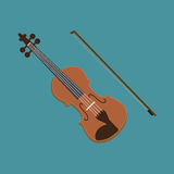 Значок скрипки Иллюстрация вектора музыкального инструмента Плоский дизайн стиля с длинной тенью Стоковое Изображение