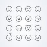 Значок смайлика emoji стиля иллюстрации вектора изолированный конспектом смешной милый плоский установил с различными настроениям бесплатная иллюстрация