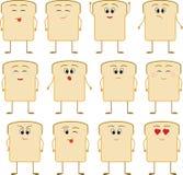 Значок смайлика хлеба на белой предпосылке Стоковая Фотография RF