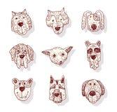 Значок собрания собаки породы, вектор Стоковые Фотографии RF