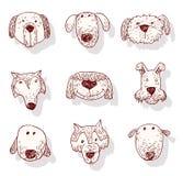 Значок собрания собаки породы, вектор Стоковое Изображение