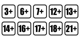 Значок содержания взрослых знаков ограничения возраста Вектор eps10 значка возраста предела установленный иллюстрация вектора