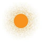 Значок Солнця Круг полутонового изображения оранжевый с случайным элементом дизайна логотипа текстуры кругов также вектор иллюстр Стоковое Изображение RF