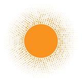 Значок Солнця Круг полутонового изображения оранжевый с случайным элементом дизайна логотипа текстуры кругов также вектор иллюстр Стоковое Изображение