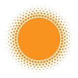 Значок Солнця Круг полутонового изображения оранжевый с элементом дизайна логотипа кругов текстуры градиента также вектор иллюстр Стоковые Фото