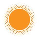 Значок Солнця Круг полутонового изображения оранжевый с элементом дизайна логотипа кругов текстуры градиента также вектор иллюстр Стоковые Изображения