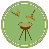 Значок сосиски барбекю Иллюстрация вектора
