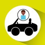 Значок спорта автомобиля девушки афро Стоковая Фотография RF
