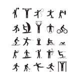 Значок спорта играя комплект черноты людей вектор Стоковое Изображение RF