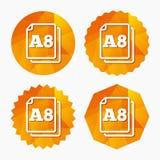 Значок стандарта размера бумаги A8 Символ документа Стоковые Фотографии RF