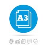 Значок стандарта размера бумаги A3 Символ документа иллюстрация вектора