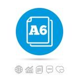 Значок стандарта размера бумаги A6 Символ документа бесплатная иллюстрация