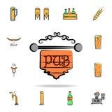 значок стиля эскиза пива покрашенный знаком Детальный набор пива цвета в значках стиля руки вычерченных Наградной графический диз иллюстрация штока